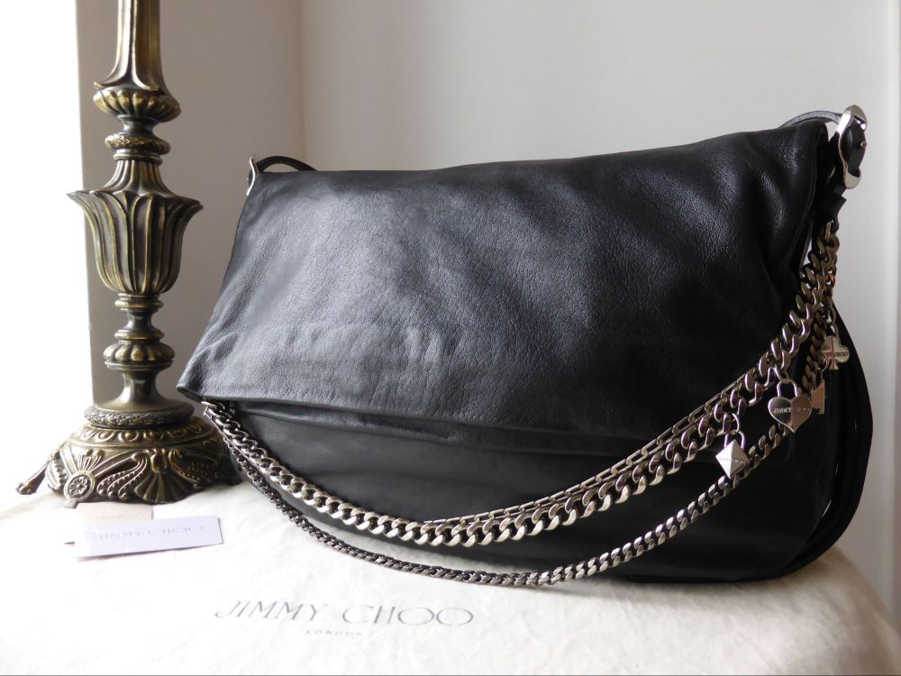 Jimmy Choo Large Biker Bag in Black Grainy Calfskin