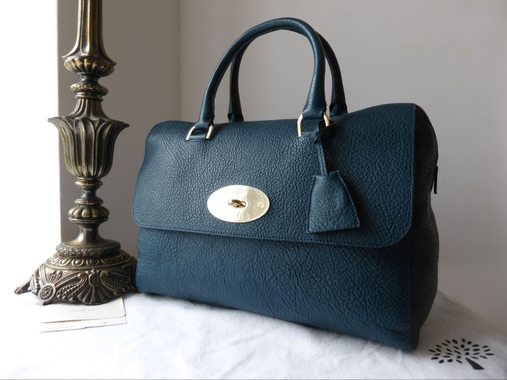 Mulberry Del Rey (Larger Sized) in Petrol Vegetable Tanned Lambskin - As Ne