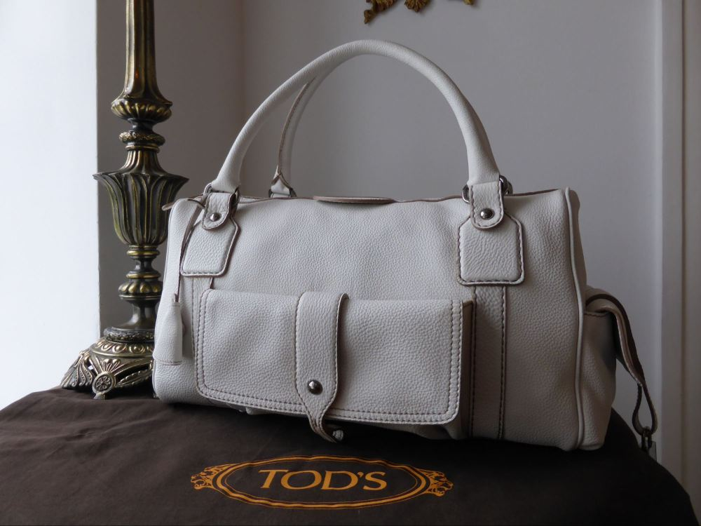 TOD'S Bensenville Piccola Boston in White Pebbled Leather - New*