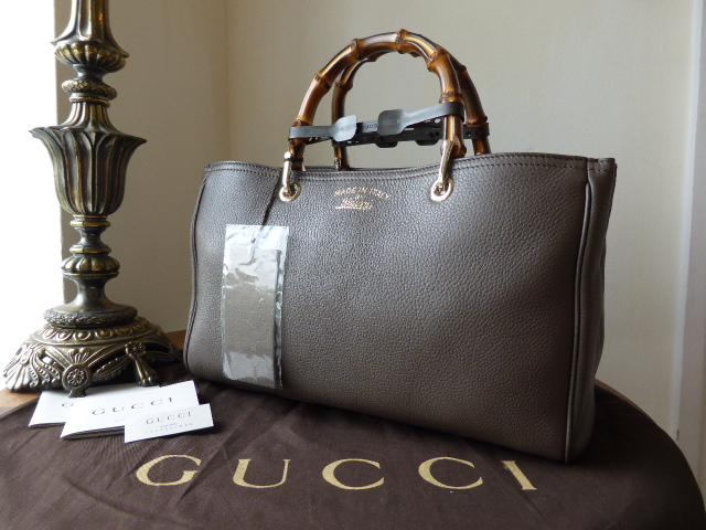 Gucci Bamboo Leather Tote Medium Grey Field  - New