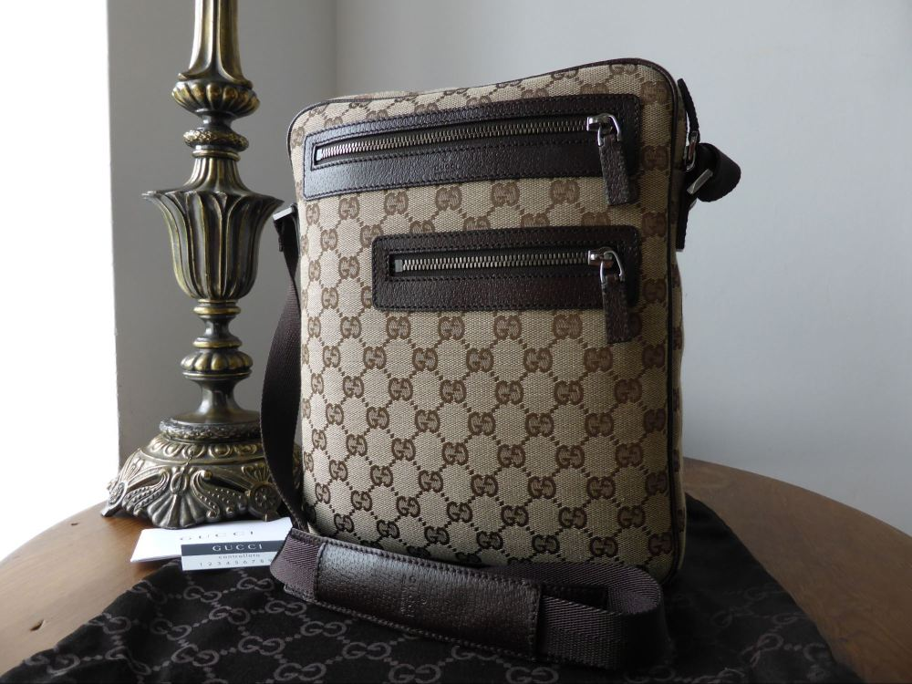 Gucci Twin Pocket Reporter Messenger in Ebony & Beige Monogram - New