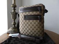 Gucci Twin Pocket Reporter Messenger in Ebony & Beige Monogram - New