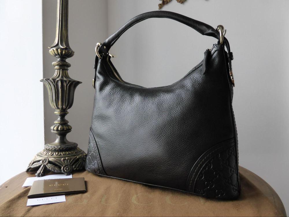 Gucci Signora Calfskin & Guccissima Leather Black Hobo