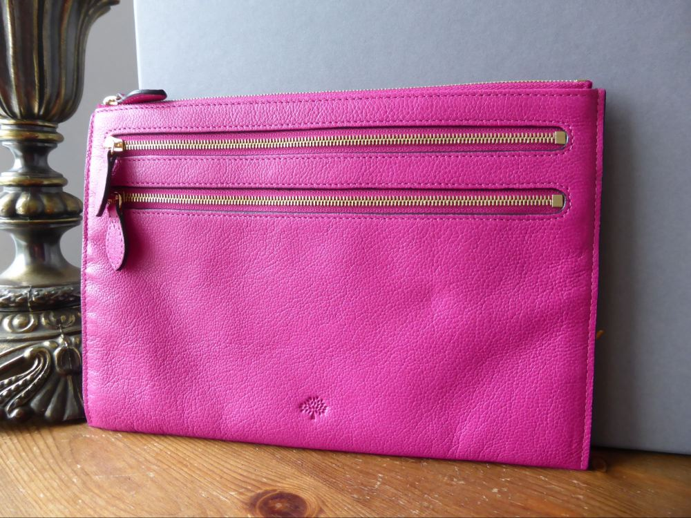 Mulberry Multi Zip Pouch in Pink Glossy Goat Leather - New