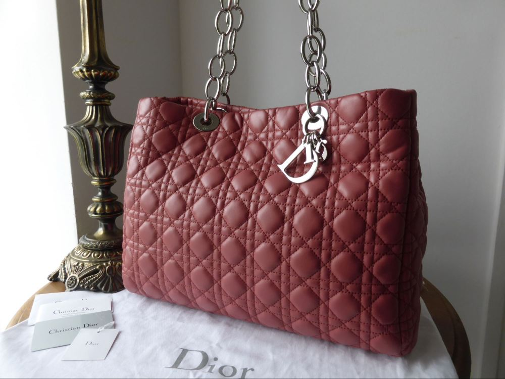Dior Soft Large Shopping Tote in Rose Jaipur Lambskin Cannage