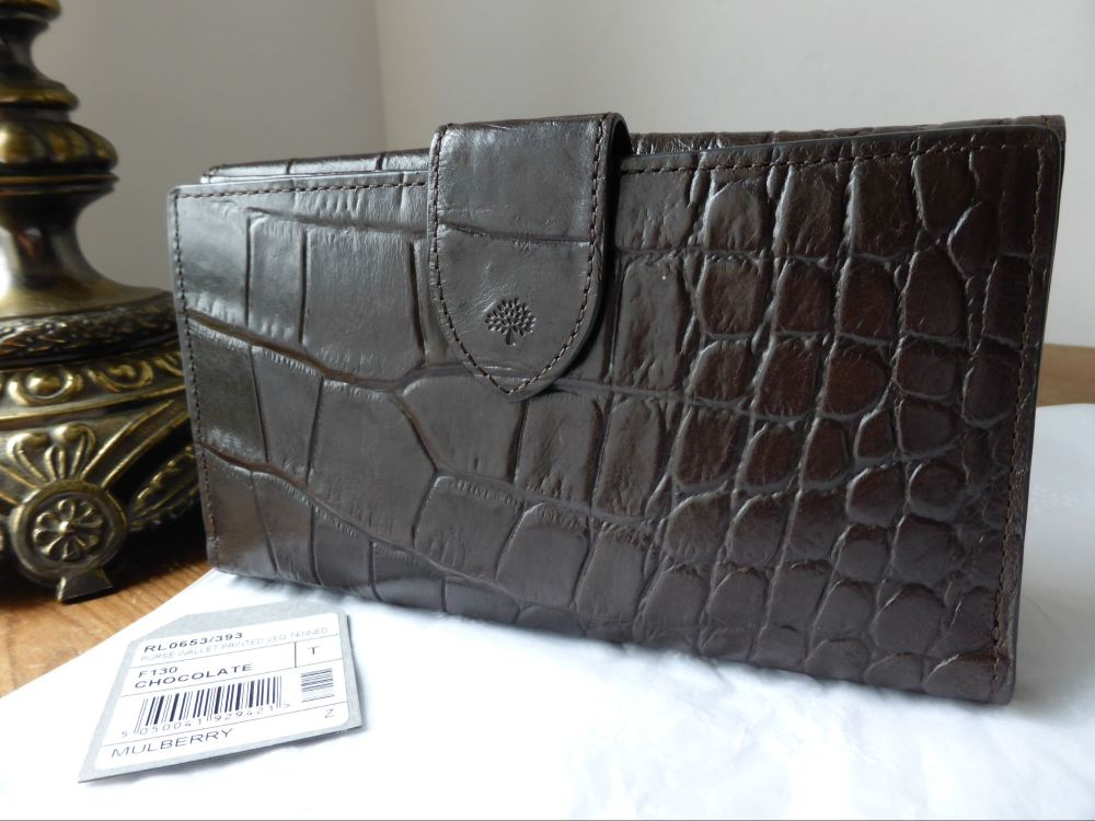 Mulberry Continental Bifold Wallet Chocolate Printed Vegetable Tanned Leath