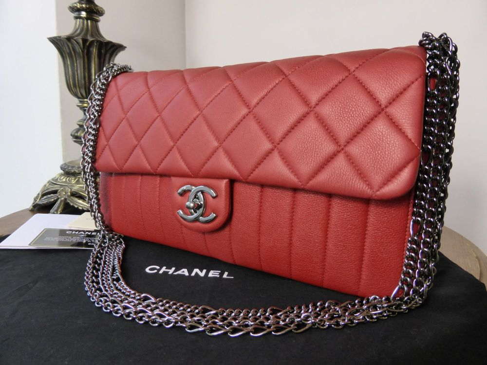 Chanel Chevron Mix Quilted Multi Chain Flap in Red Calfskin - As New