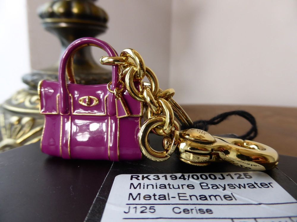 Mulberry Miniature Bayswater Keyring Charm in Cerise Enamel & Gold - New