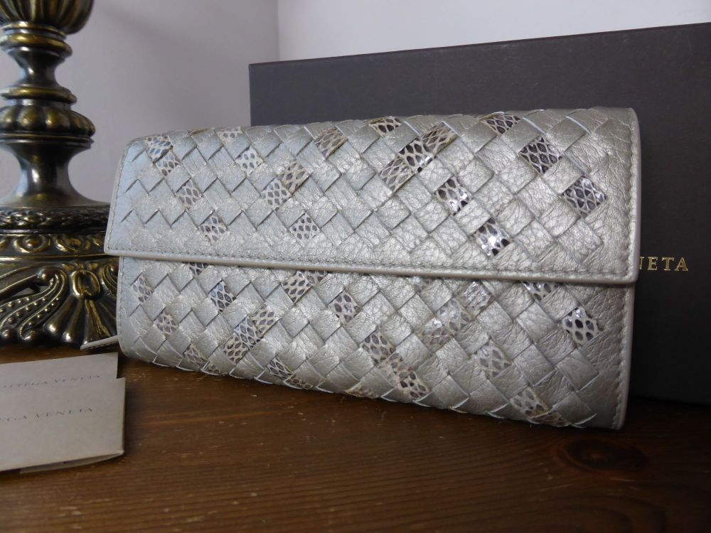 Bottega Veneta Metallic Intrecciato Snakeskin Continental Wallet - New