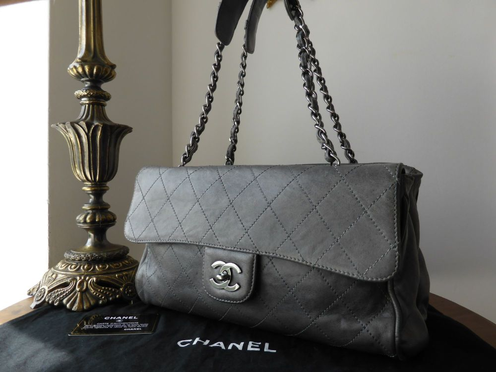 Chanel Ritz Shoulder Bag in Grey Washed Calfskin