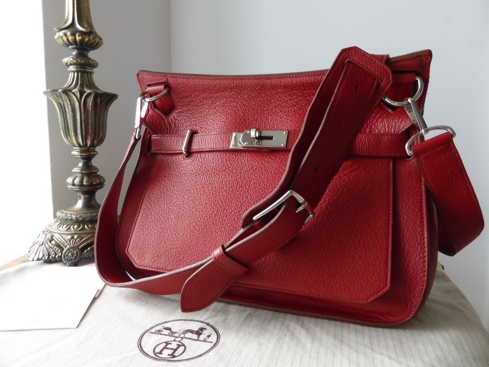 Hermes Jypsière 34 in Rouge Casque Taurillon Clemence Leather with Palladiu