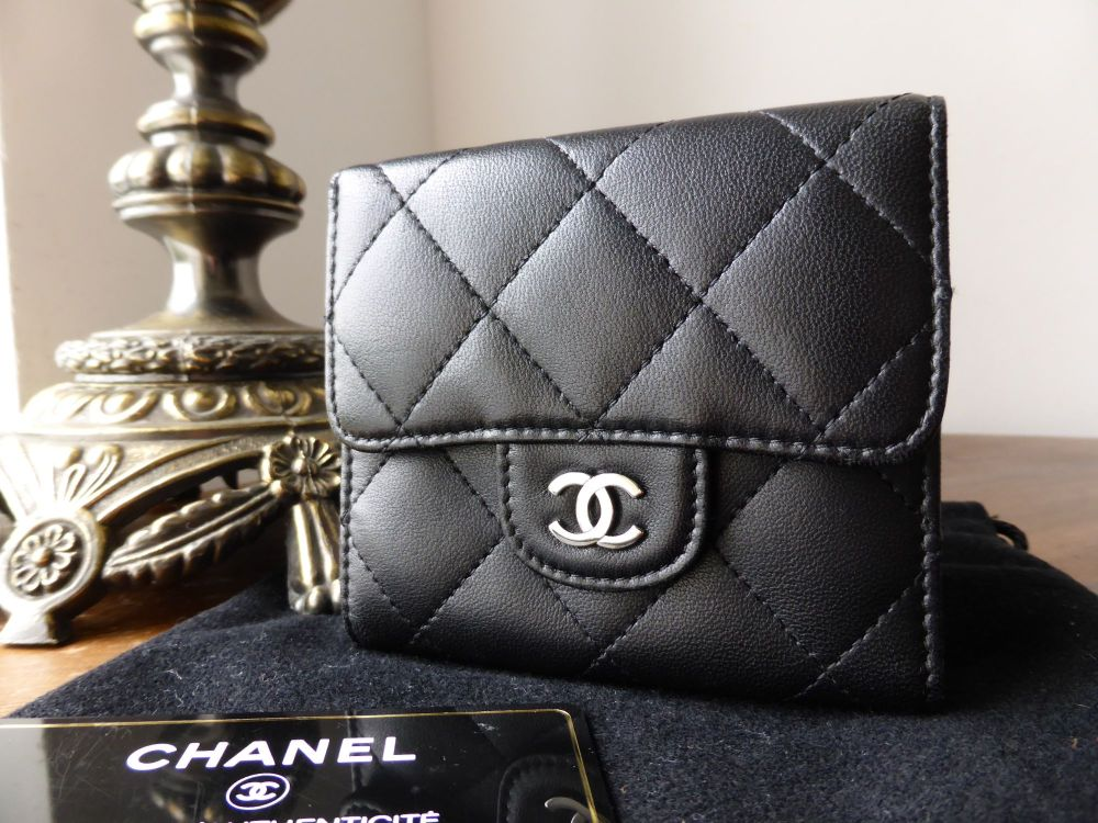Chanel Dual Sided Flap Wallet in Black Quilted Lambskin