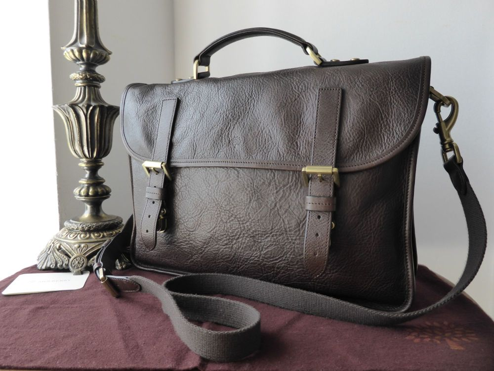 Mulberry Elkington Briefcase in Chocolate Natural Leather
