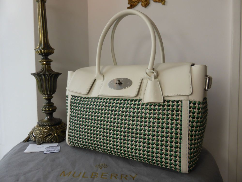 Mulberry Bayswater Buckle in Cream and Jungle Green Woven Leather - New*