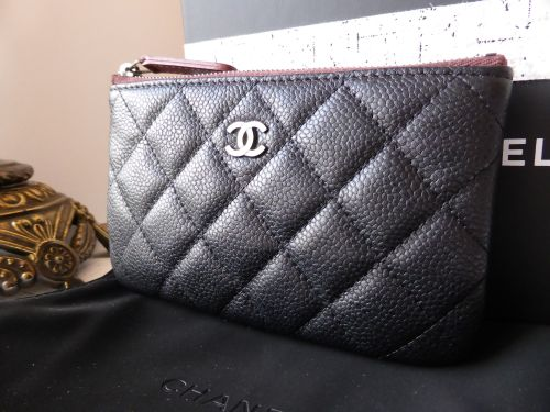 Chanel Small O Case Zip Pouch in Black Caviar Leather with Ruthenium Hardwa 93442eea96