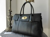 Mulberry Bayswater in Black Natural Leather with Soft Gold Hardware