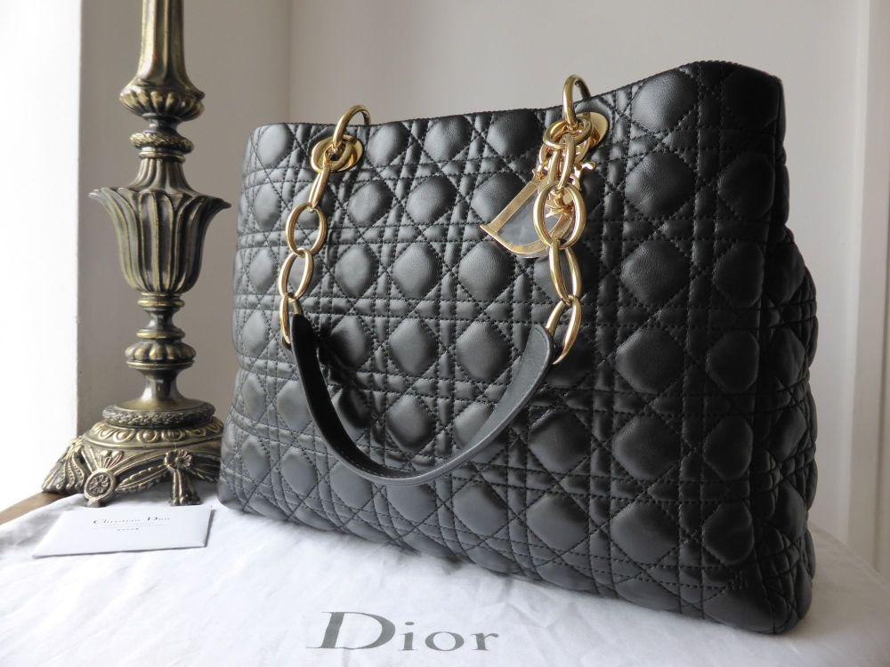 Dior Soft Large Tote in Black Lambskin with Gold Hardware