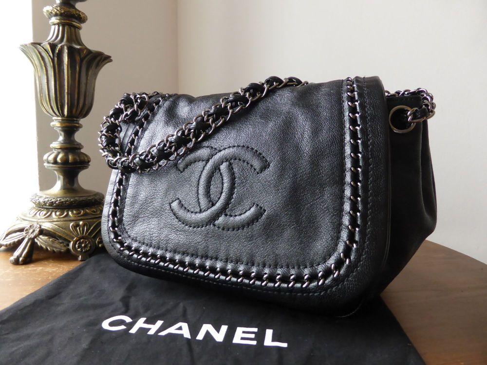 Chanel Luxe Ligne Flap Bag in Metallic Black Goatskin
