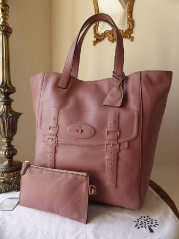 Mulberry Maisie North South Tote in Dark Blush Smooth Touch Leather with Ro