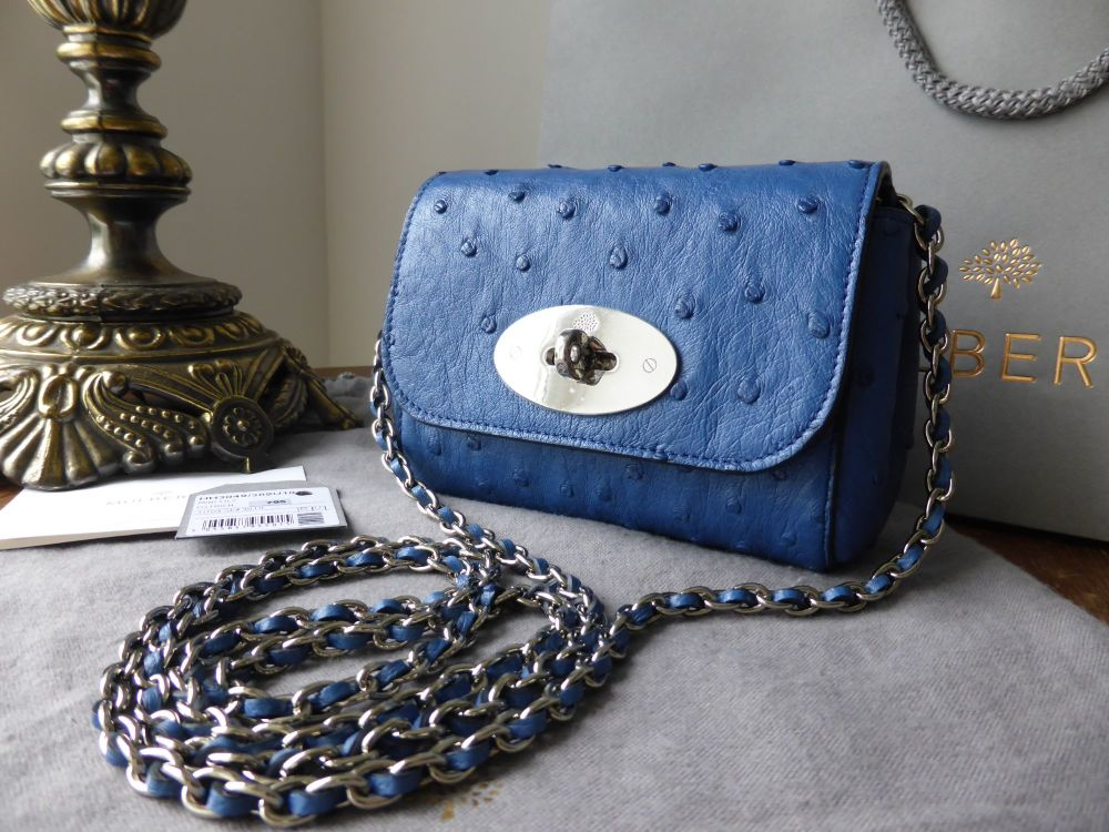 Mulberry Mini Lily in Sea Blue Ostrich Leather - New