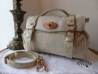 Mulberry Alexa Regular in Petticoat White Haircalf with Ostrich Leather & Rose Gold Hardware