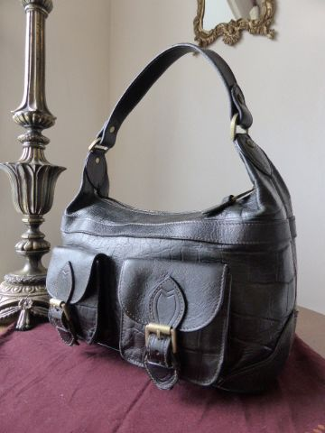 Mulberry Violet in Black Kenya Leather