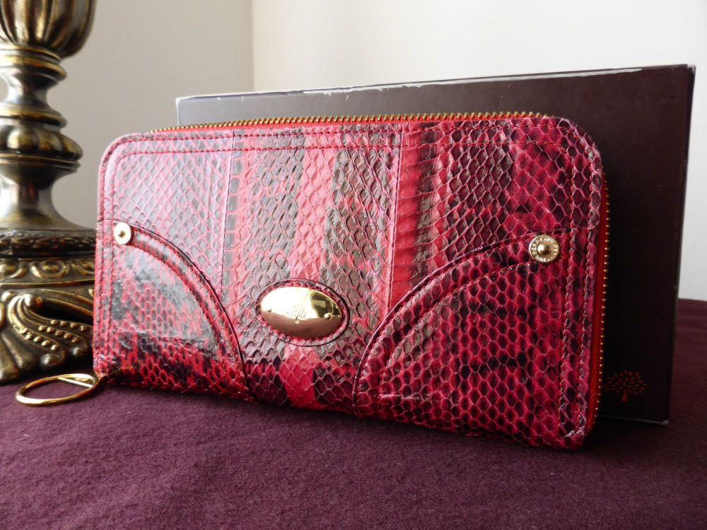 Mulberry Poppy Large Purse Clutch in Red Copperhead Snakeskin
