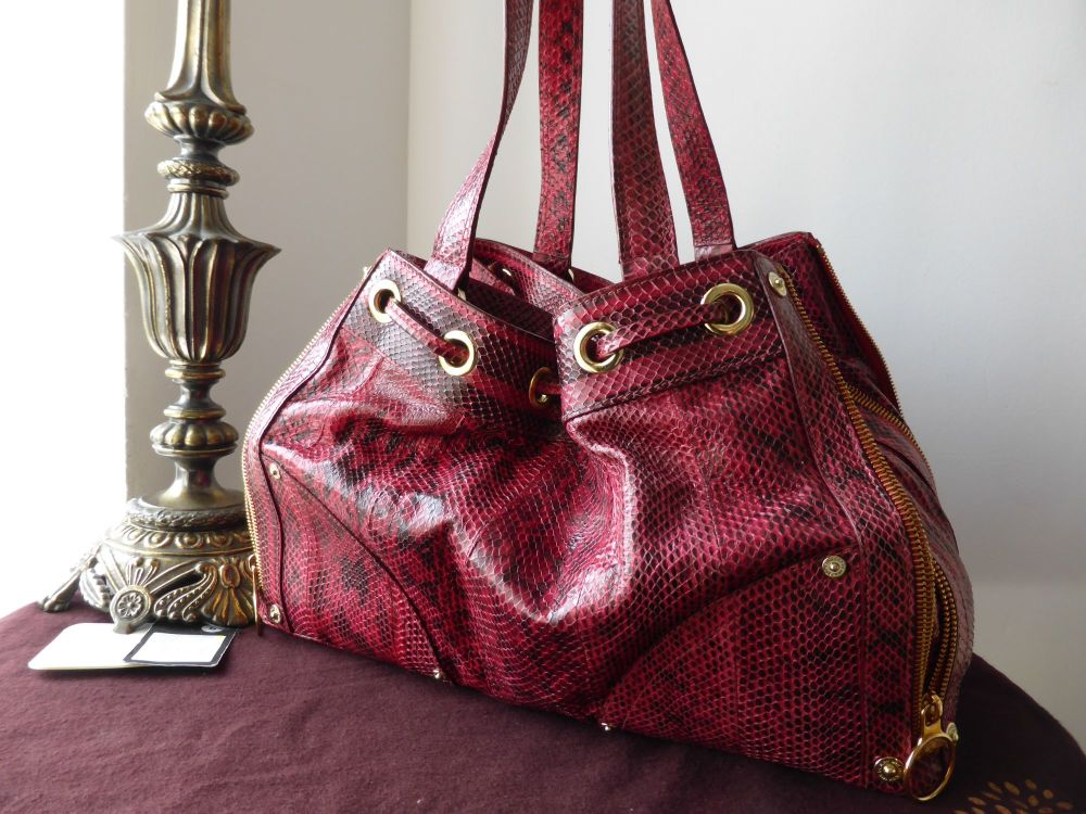 Mulberry Poppy Shoulder Bag in Red Copperhead Snakeskin