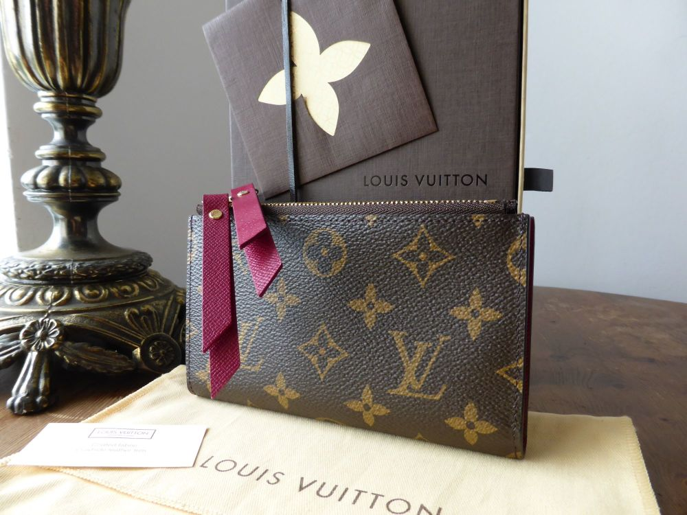 Louis Vuitton Adele Compact Wallet in Fuschia and Monogram - New