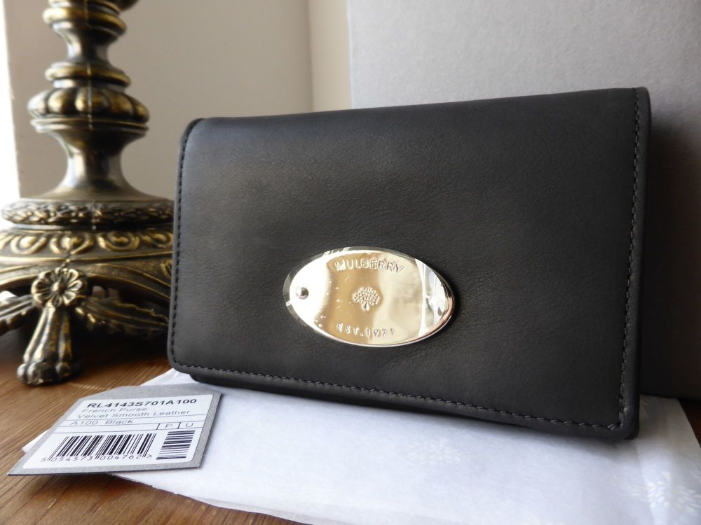 Mulberry French Purse in Black Velvet Smooth Leather - New