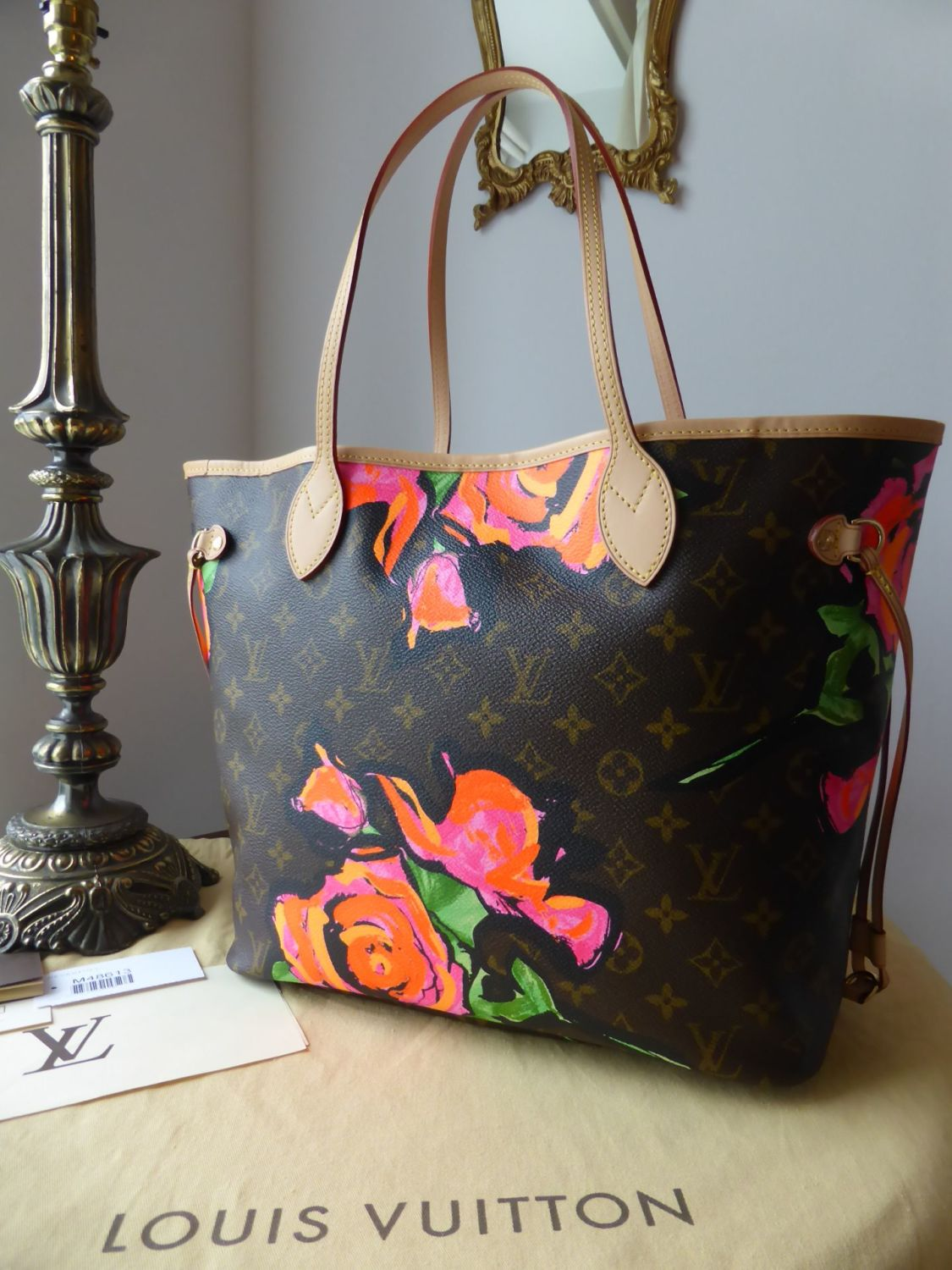 louis vuitton limited edition neverfull mm monogram roses stephen sprouse