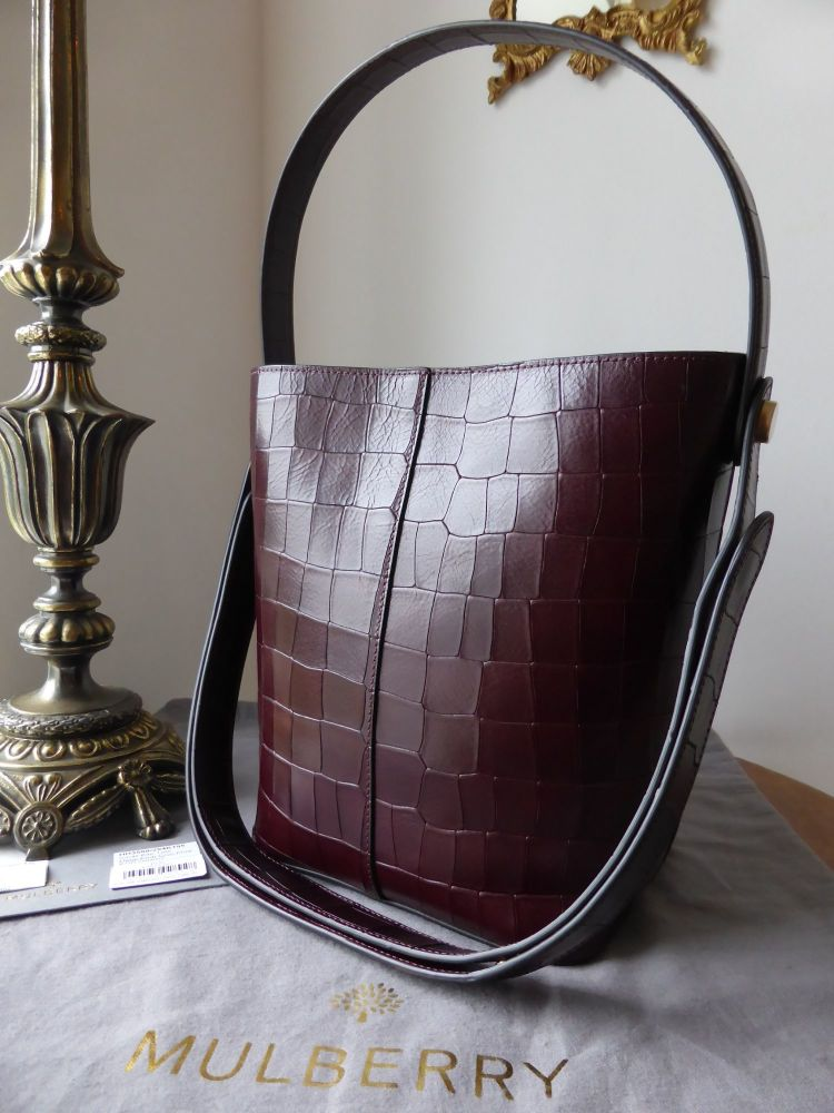 Mulberry Kite in Oxblood Deep Embossed Croc Print - New