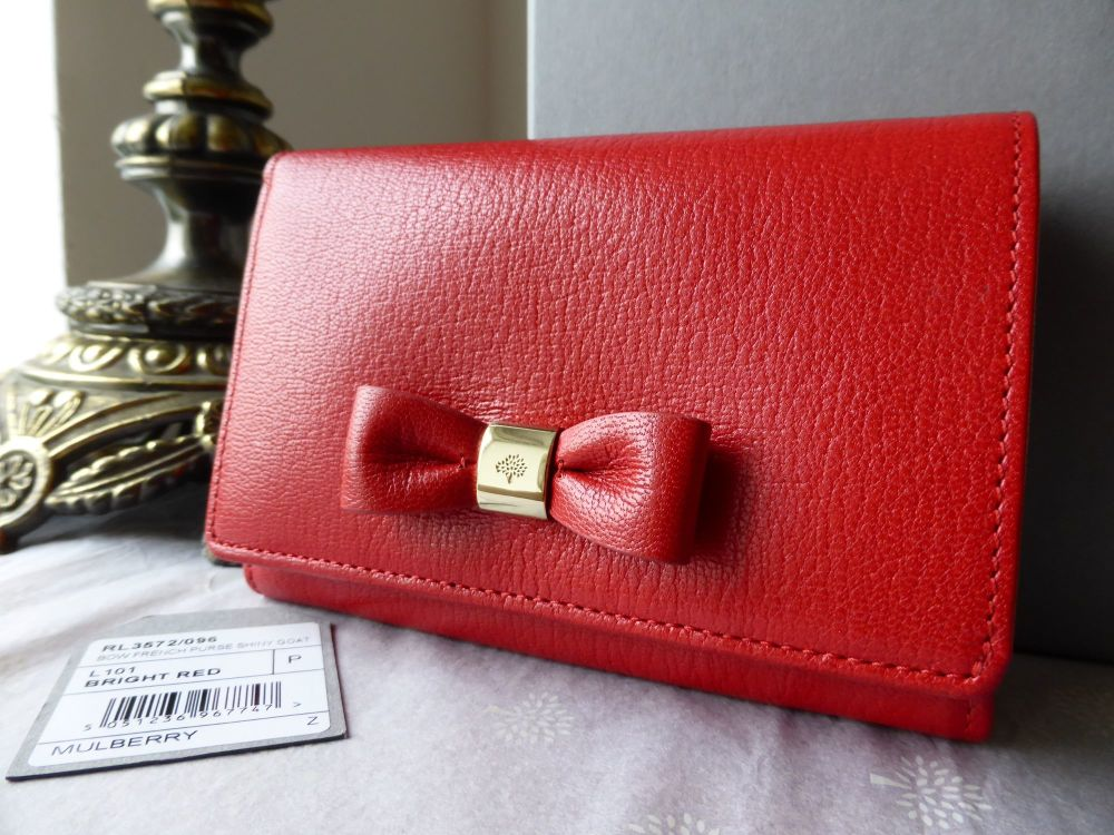 Mulberry Bow French Purse in Red Goatskin - New