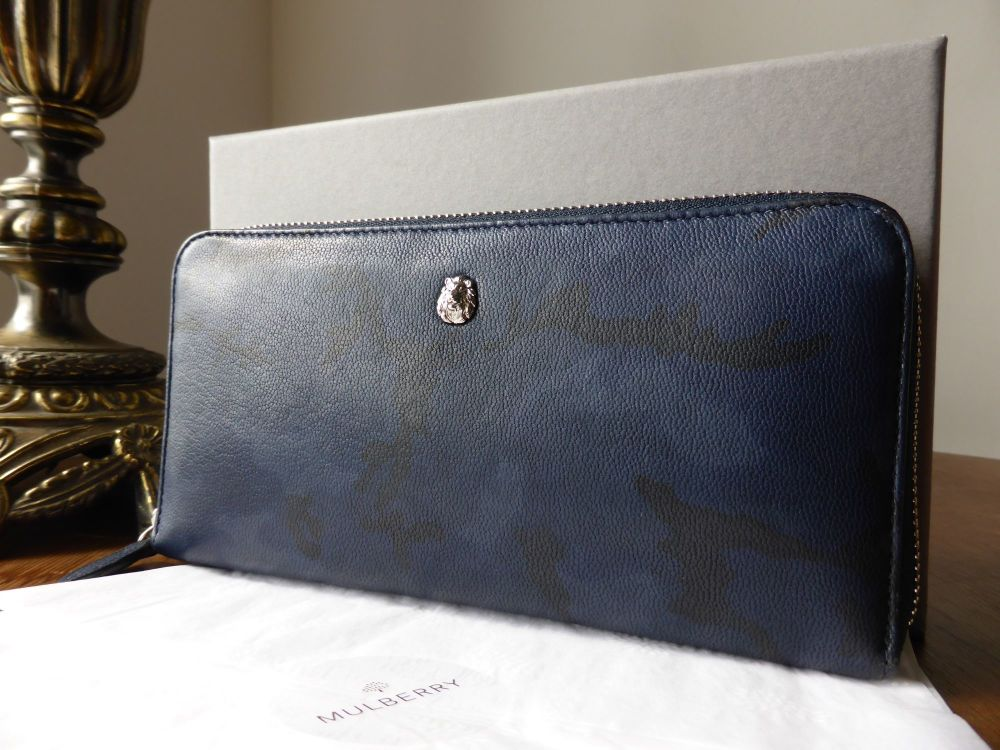 Mulberry Cara Delavigne Camo Zip Around Continental Purse in Midnight Blue