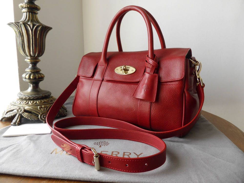 Mulberry Small Bayswater Satchel in Red Natural Leather