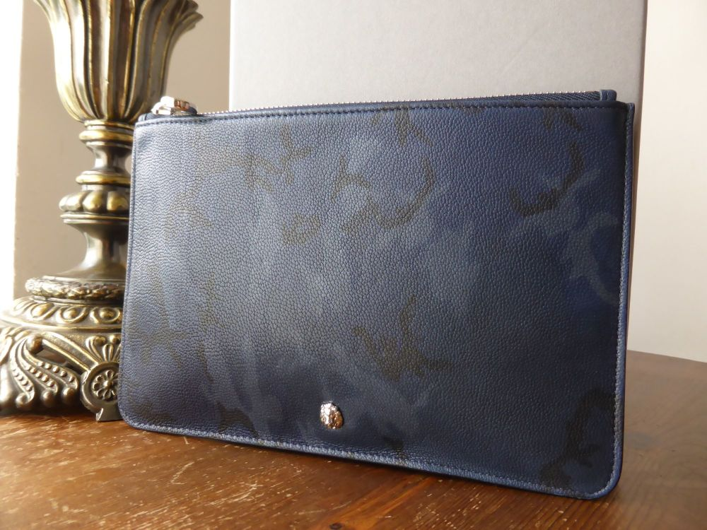 Mulberry Cara Delavigne Camo Zip Pouch in Midnight Blue Goat Leather