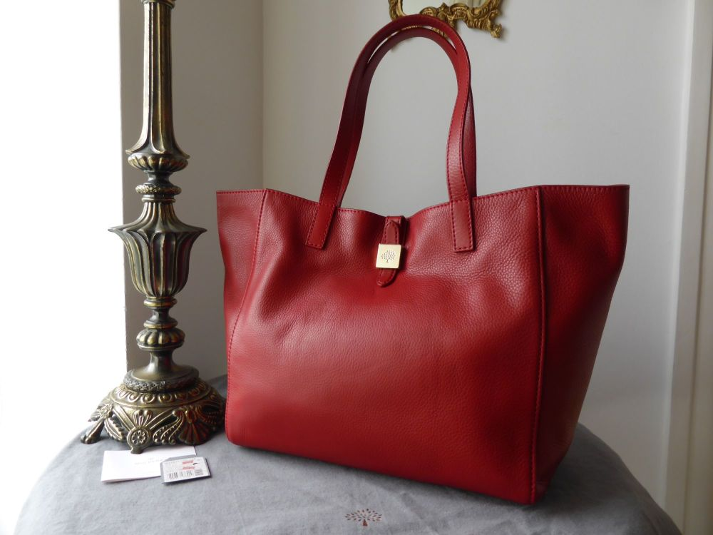 Mulberry Tessie Tote in Poppy Red Soft Small Grain Leather - New
