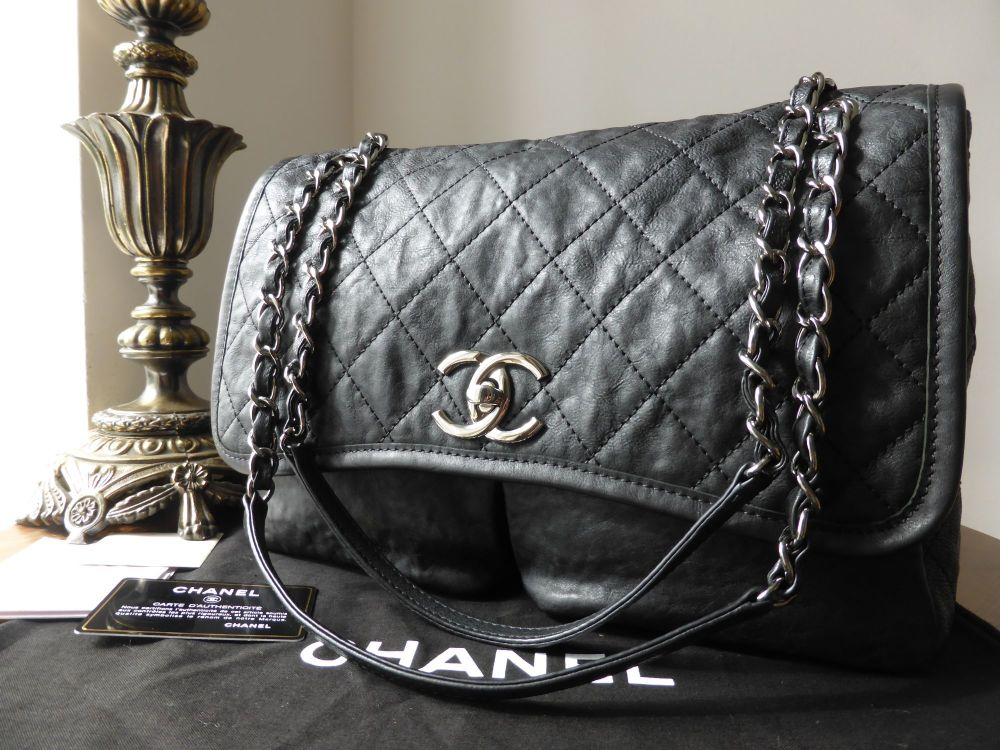Chanel Large Double Pocket Soft Flap in Black Distressed Calfskin