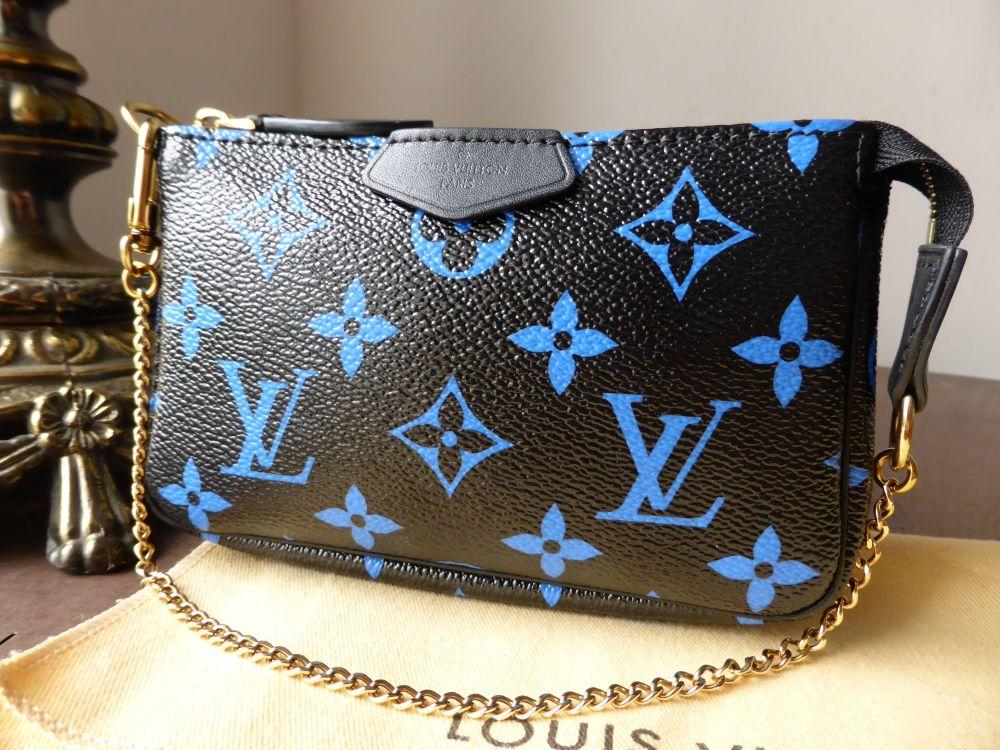 Louis Vuitton Mini Pochette in Black with Blue Monogram