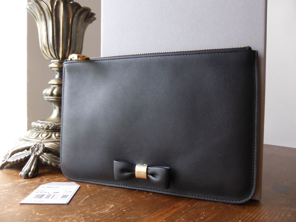 Mulberry Bow Makeup Pouch in Black Silky Calf - New