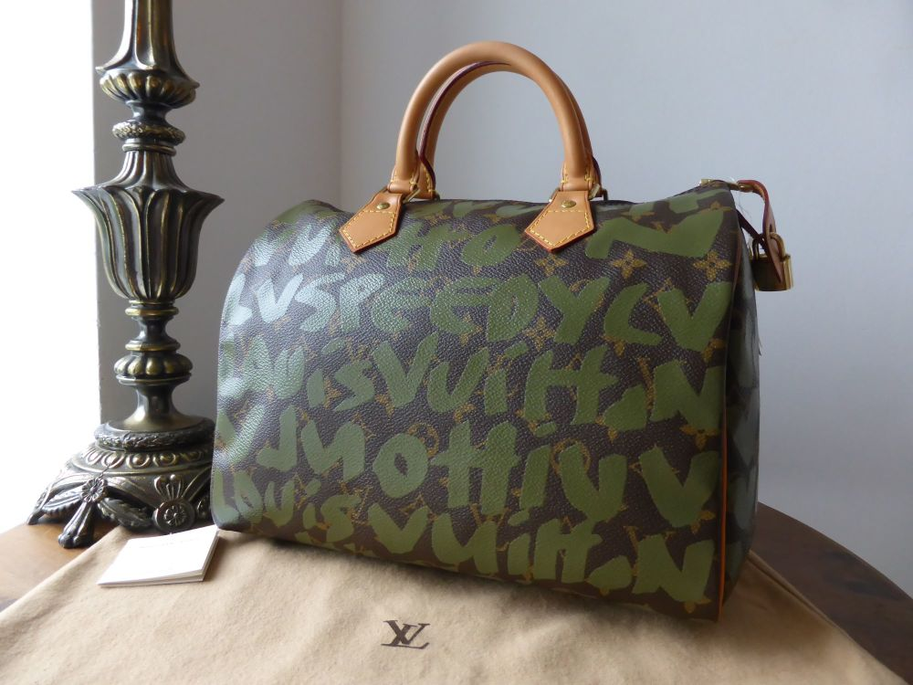 Louis Vuitton Limited Edition Speedy 30 Monogram Khaki Graffitti Stephen Sp