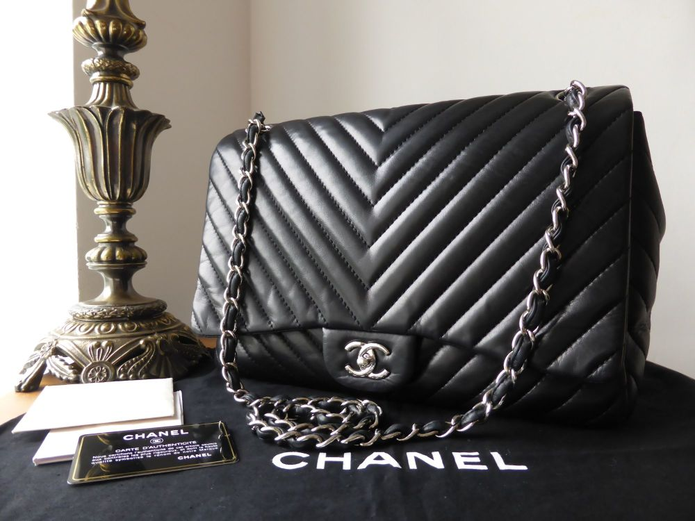 Chanel Chevron Maxi Single Flap in Black Lambskin with Silver Hardware