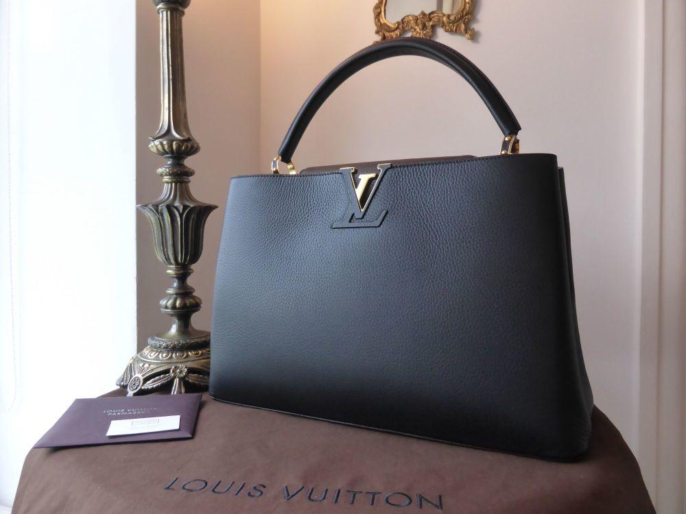 Louis Vuitton Capucines GM in Taurillion Noir & Grenade - As New