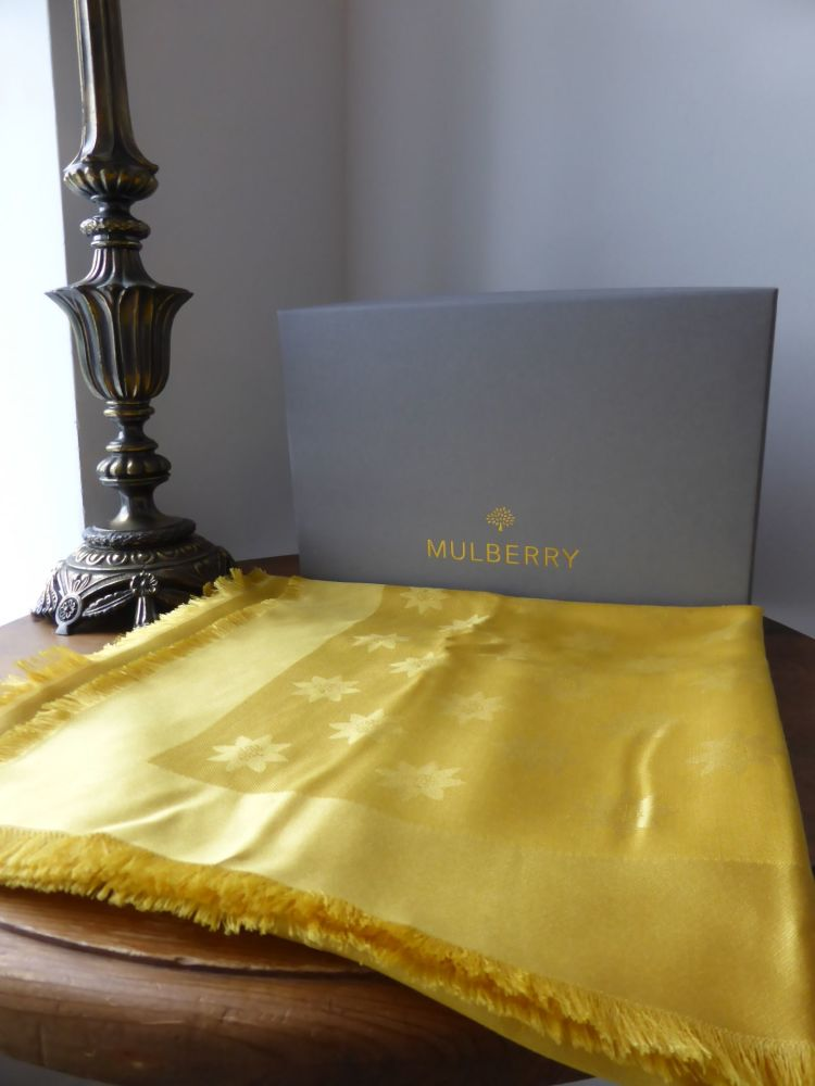 Mulberry Monogram Star Jacquard Scarf in Sycamore Silk & Wool - New