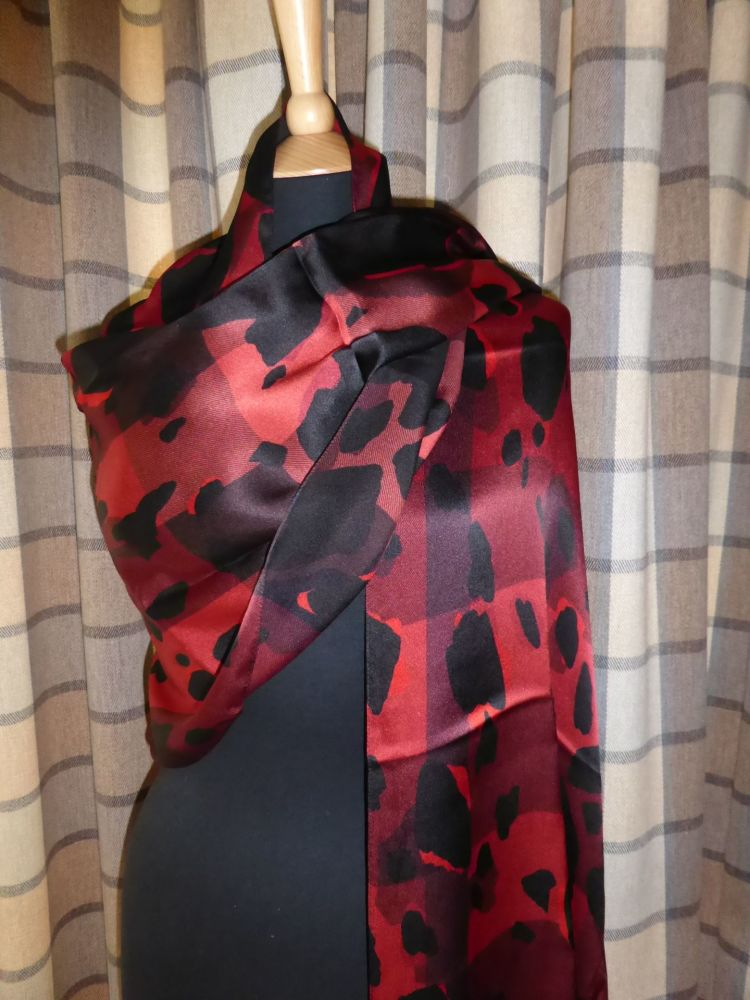 Burberry Silk Scarf Wrap in Parade Red Animal Print Mega Check- New