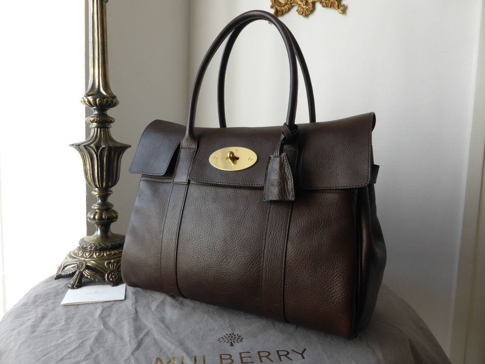 Mulberry Bayswater in Chocolate Natural Leather with Brass Hardware - As Ne