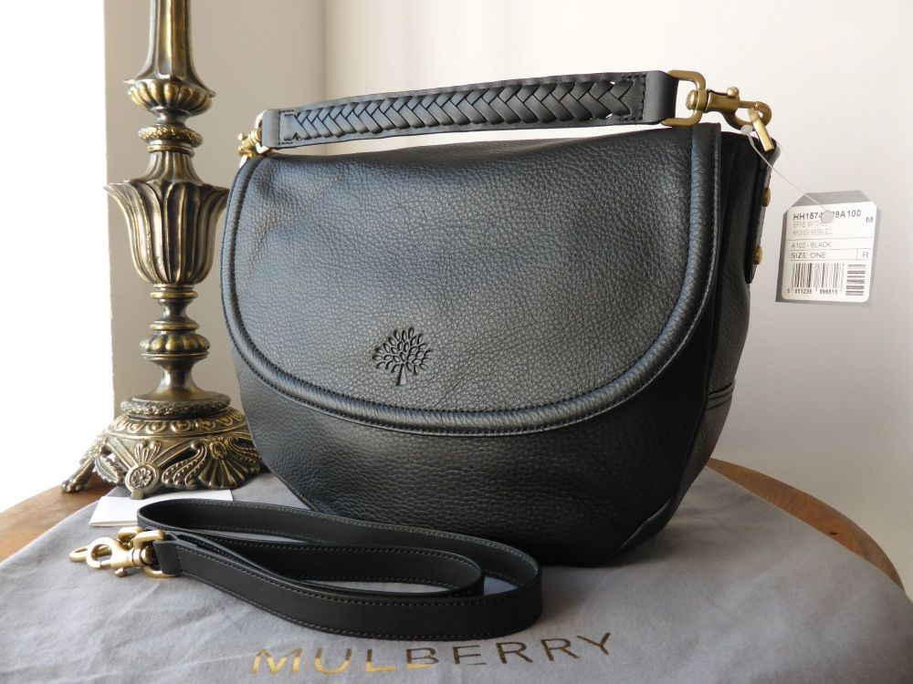Mulberry Effie Satchel in Black Spongy Pebbled Leather - New