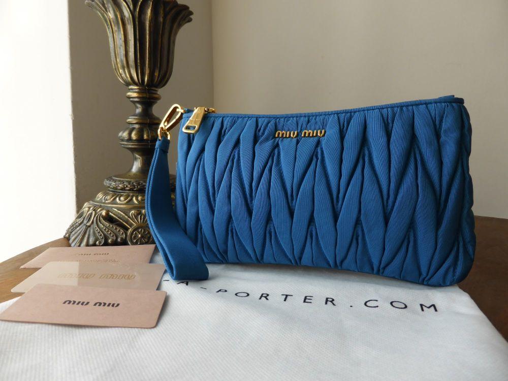 Miu Miu Zip Pouch Wristlet Faille Matelasse Cobalt - New*