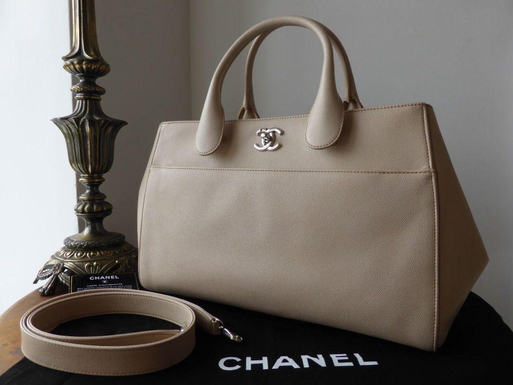Chanel Cerf Tote in Nude Caviar Leather - As New