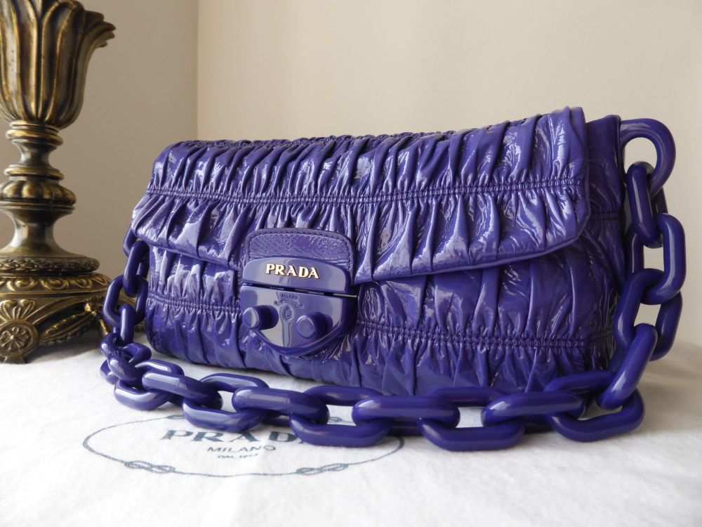 Prada Small Shoulder Bag in Iris Vernice Gaufre